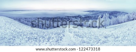 winter landscape, winter panorama, panorama of winter, winter of Siberia, winter in Siberia, winter in Russsia - stock photo