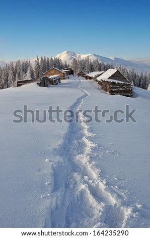Winter landscape with a path to the mountain village of shepherds. Carpathian mountains, Ukraine, Europe - stock photo
