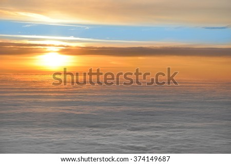 Winter landscape with a sunset.