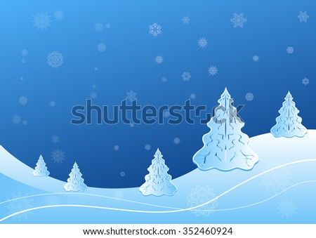 Winter landscape with fir tree and snowflake shapes illustration. - stock photo