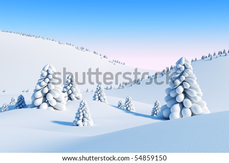 winter landscape with fir trees, 3d rendering - stock photo