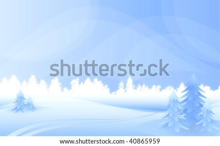 Winter landscape with forest and furtrees.