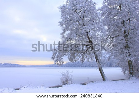 Winter landscape with frozen lake - stock photo