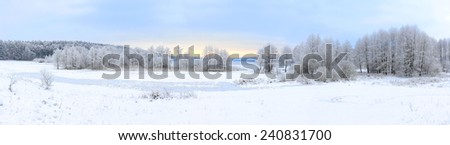 Winter landscape with frozen lake and snowy trees - stock photo