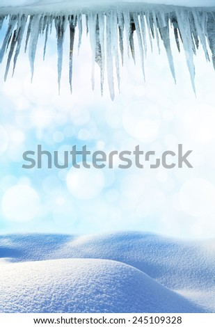 winter landscape with icicles - stock photo
