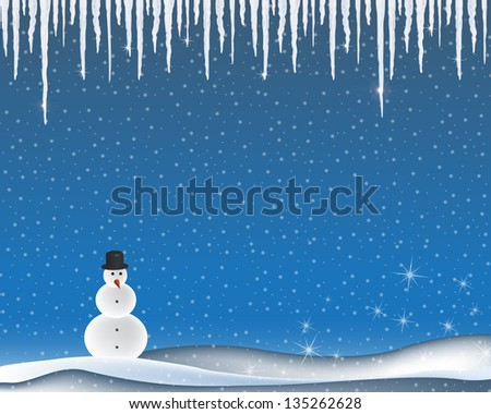 Winter landscape with icicles and snowman - stock photo