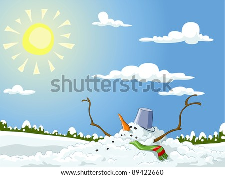 Winter landscape with melted snowman, raster - stock photo