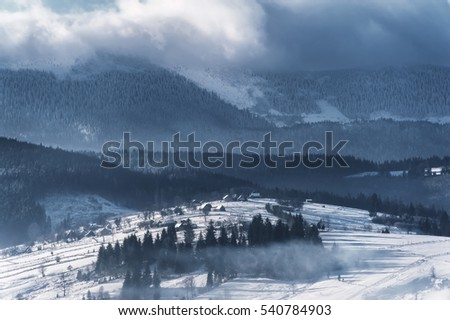 winter landscape with mountain view