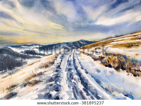 Winter landscape with road in mountains. Picture created with watercolors on paper.