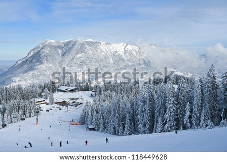 winter landscape with ski lift - stock photo