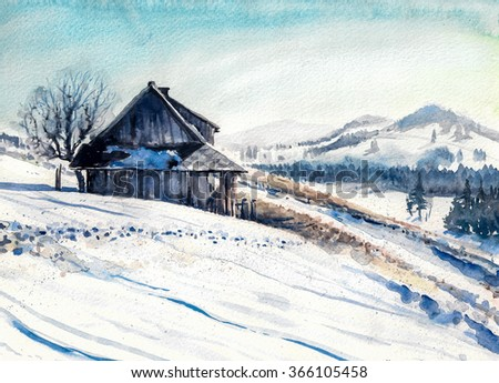 Winter landscape with small house in mountains watercolor painted. - stock photo