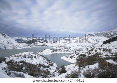 Winter landscape with snow and lakes