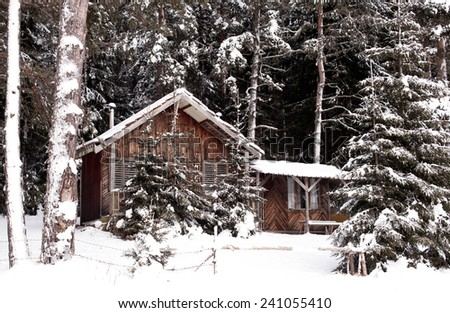 Winter landscape with snow wooden hut in Bulgarian mountains  - stock photo