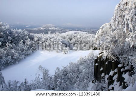 Winter landscape with snowed hill - stock photo
