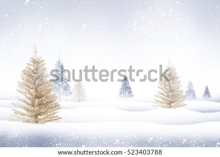 Winter landscape with snowy fir trees soft background