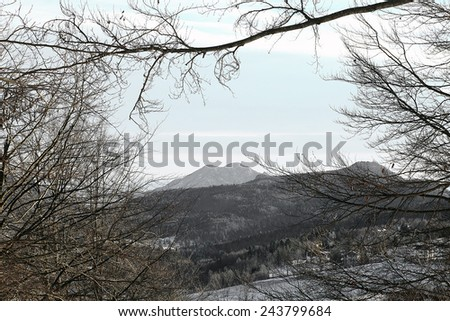 winter landscape with Summano Mount and forests blanketed in snow in winter in Northern Italy