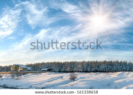 Winter landscape with the house on the edge of the wood, the trees is filled up with snow - stock photo