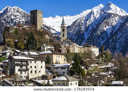 Winter lanscape view of Santa Maria in Calanca town, Switzerland (CH) - stock photo