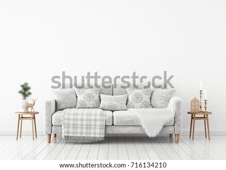 Winter Livingroom Interior With Velvet Sofa, Pillows And Plaid On White  Wall Background. 3D
