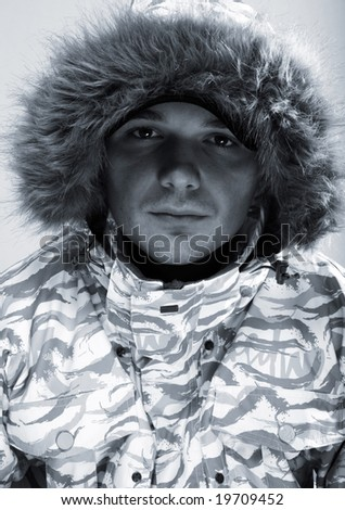 winter man. snowboarder