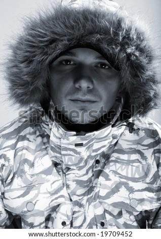 winter man. snowboarder - stock photo