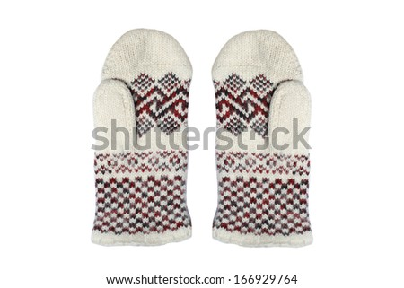 Winter mittens on a white background