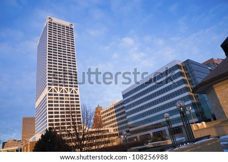 Winter morning in downtown of Milwaukee - stock photo