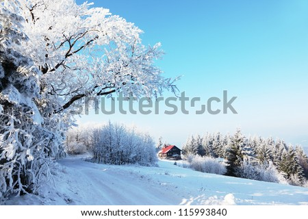 Winter morning in the mountains. Snow-covered road and a small country house in the distance - stock photo