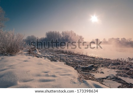 Winter morning landscape - stock photo