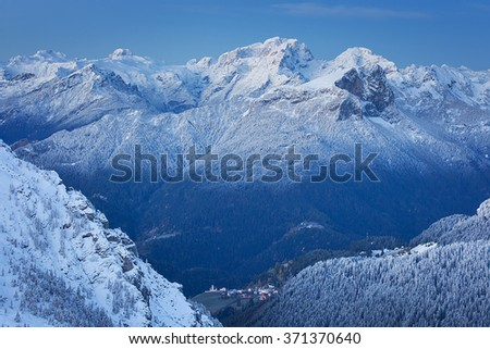 Winter morning landscape of Marmolada summit in Dolomites in winter from Passo Giau, Dolomites, Italy - stock photo