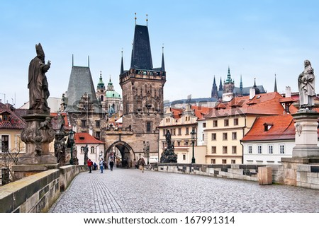 Winter morning on the Charles bridge in Prague, Czech Republic - stock photo