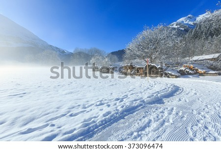 Winter mountain country misty view with stock of firewood.