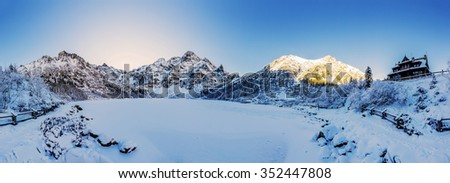 Winter mountain landscape, panorama - Morskie Oko, Tatra Mountains, Poland