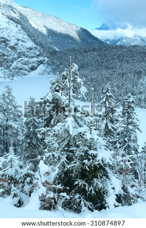 Winter mountain landscape. View from Fern Pass to the east with the lake Blindsee, Austria.