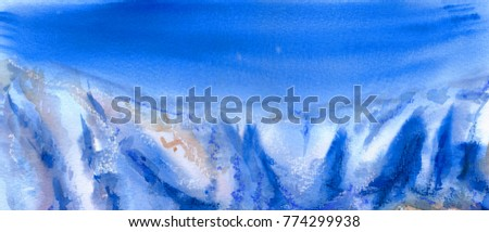 Winter mountain landscape with blue sky. Watercolor painting. Nature background. Hand drawn outdoor illustration. Painted holiday backdrop. Panorama landscape.