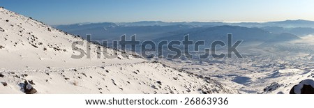 Winter mountain panorama from Mount Ararat track - stock photo