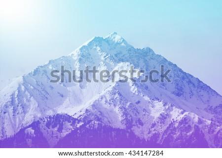 Winter mountain peak - stock photo