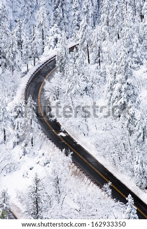 Winter Mountain Road - stock photo
