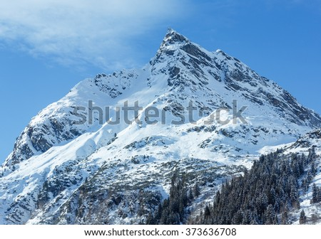 Winter mountain top view with forest on snowy slope (Austria, Tyrol).