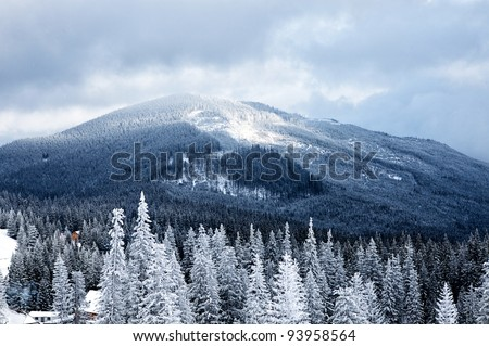 Winter mountain valley landscape. Great Smoky Mountain National Park, Tennessee, USA - stock photo