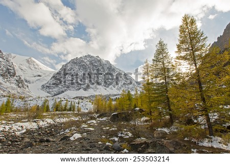 Winter mountain valley with yellow larches, Altai mountains, Siberia - stock photo