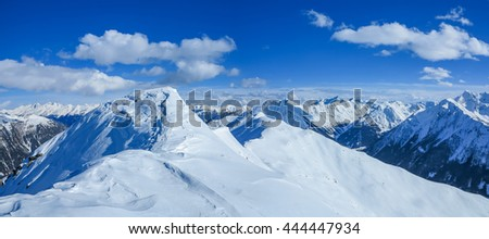 Winter mountains. Extreme sport ski touring. Great blue landscape wallpaper. - stock photo