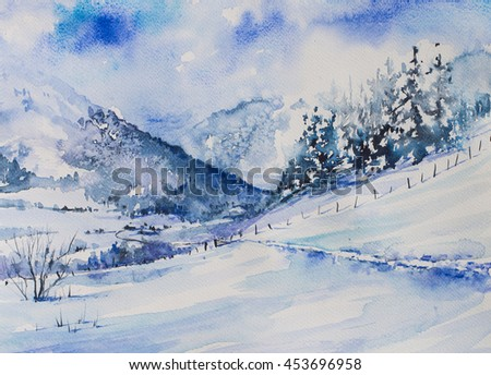 Winter mountains landscape with trees and road to the valley.