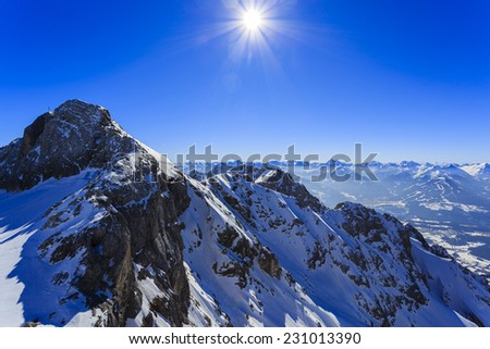 Winter mountains, panorama of the Austrian Alps - stock photo
