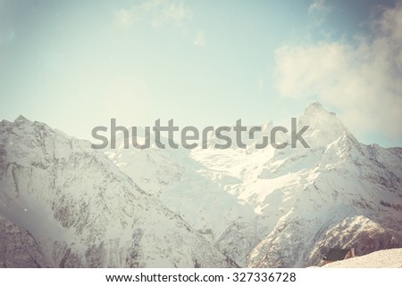 Winter mountains panorama with ski slopes. Caucasus - stock photo