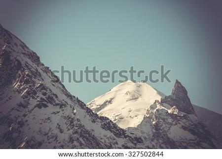 Winter mountains panorama with ski slopes. Caucasus - stock photo