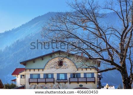 Winter Mountains Snow German Buildings  Leavenworth Washington - stock photo
