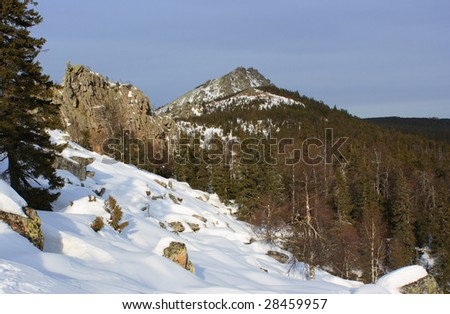 "Winter mountains. South Ural, backbone of ""Taganay""."