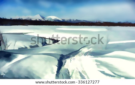 Winter natural background. Snow field and mountains. Kamchatka.