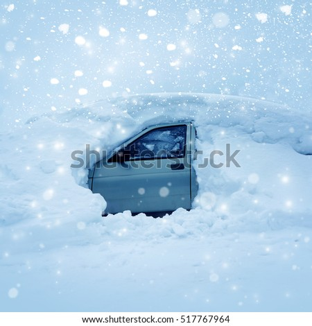 Winter nature, the car in snowdrift